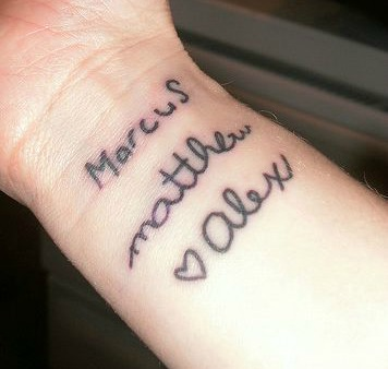 child handwriting tattoo 2
